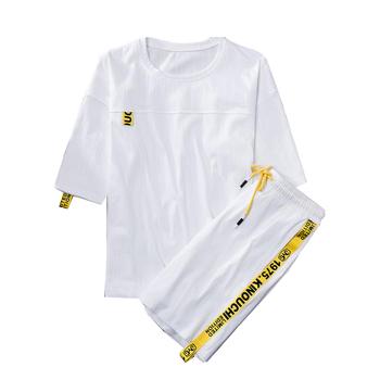Bluza męska dres lato mężczyźni zestaw z krótkim rękawem koszulki z krótkim rękawem Hip Hop topy + spodenki garnitur odzież sportowa zestaw mężczyźni odzież męskie zestawy tanie i dobre opinie NONE COTTON PATTERN O-neck 90 cotton 10 spandex Elastyczny pas shorts List