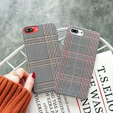 Fashion Grid Fabric Canvas Phone Case For Apple iPhone 7 6S 6 8 Plus X Lattice Cloth Soft TPU Cover Cases 8Plus 10