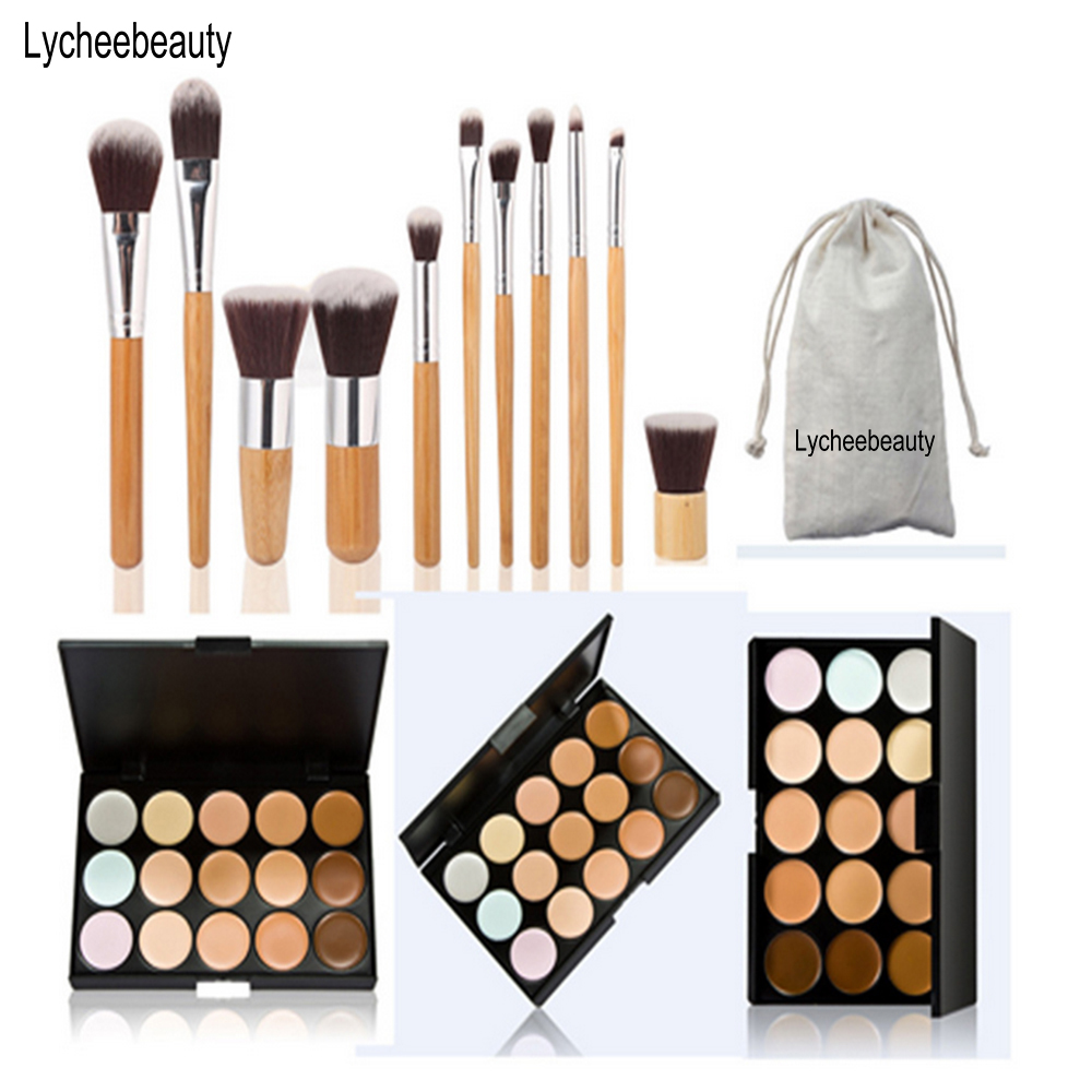 15 Colors Face Concealer Camouflage Cream Contour Palette And 11 Pcs Makeup Brushes Set Bamboo Handle Eyeshadow Foundation Brush concealer 15 color makeup palette wooden handle brush puff face foundation bronzer 15 color concealer contour palette