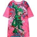 2016 летний новый женская футболка графический печати с коротким рукавом HARAJUKU тройник лучших для женщин дамы свободные футболки punk стиль розовый Футболка