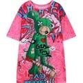 2016 verano de las nuevas mujeres t-shirt de impresión gráfica de manga corta HARAJUKU tee top para mujer de las señoras camiseta floja estilo punky Camiseta rosa