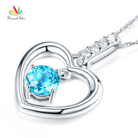 Peacock Star Fine 14K White Gold Swiss Blue Topaz Heart Pendant Necklace 0.04 Ct Diamond