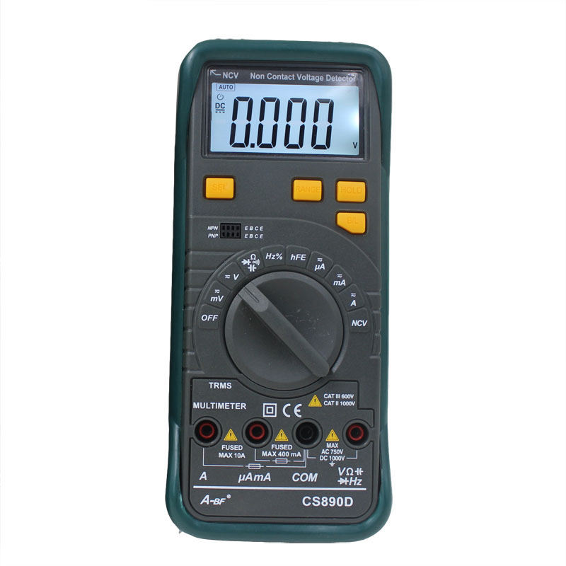 A-BF CS890D Auto Ranging professional electrical digital multimeters,100mF Capacitance Test Pocket Portable, Backlight LCD