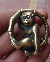 Brass solid carved monkey rolling ring pendant necklace old object brass