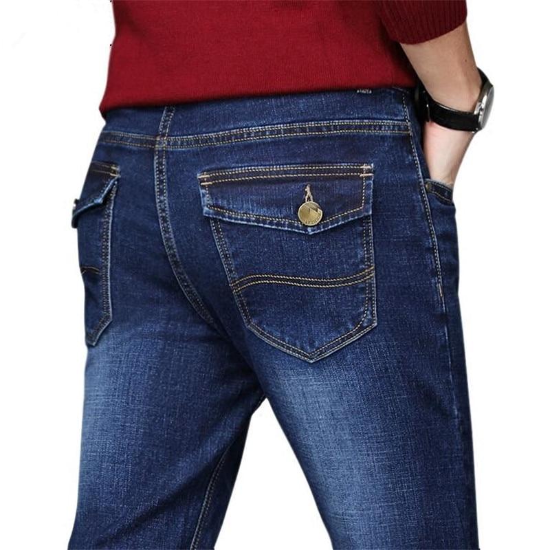 Plus Size 44 46 48 50 Men's Jeans Pants Good Quality Straight Stretch Jeans Men Designer Mens ,Casual Slim Black Straight Pants