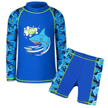 d427fc09287 Boys Summer Swimsuit Cute Swimwear Top+Pants Infant Kid Child Blue SPF30+  UPF50+ Anti- · 2 Colors Available