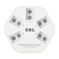 EBL 5 slots USB Battery Charger for 9V NI-MH Battery High Quality Individual Smart quick charger for 9V batteries DC-504 Battery Chargers