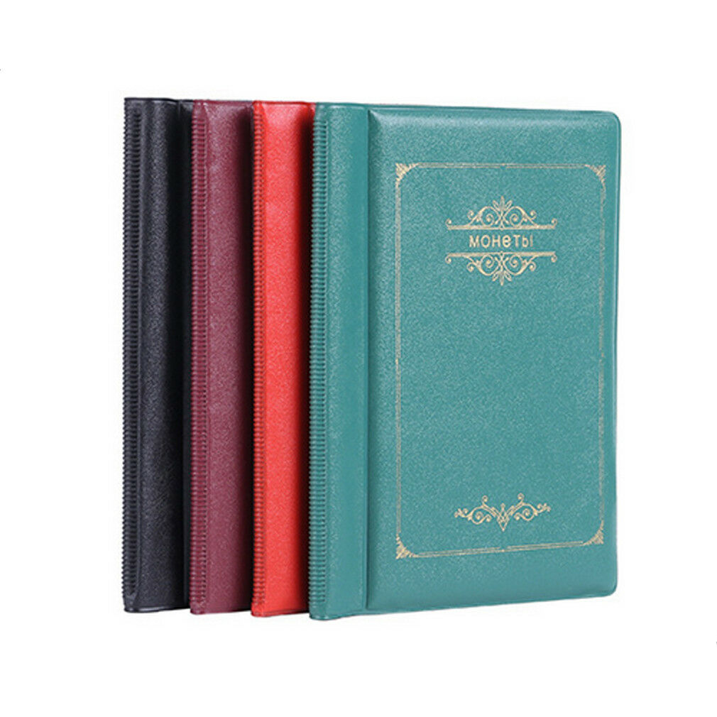 PU Leather Cover OPP 10 Pages 120 Pockets Holder Coin Book Album Gift Red