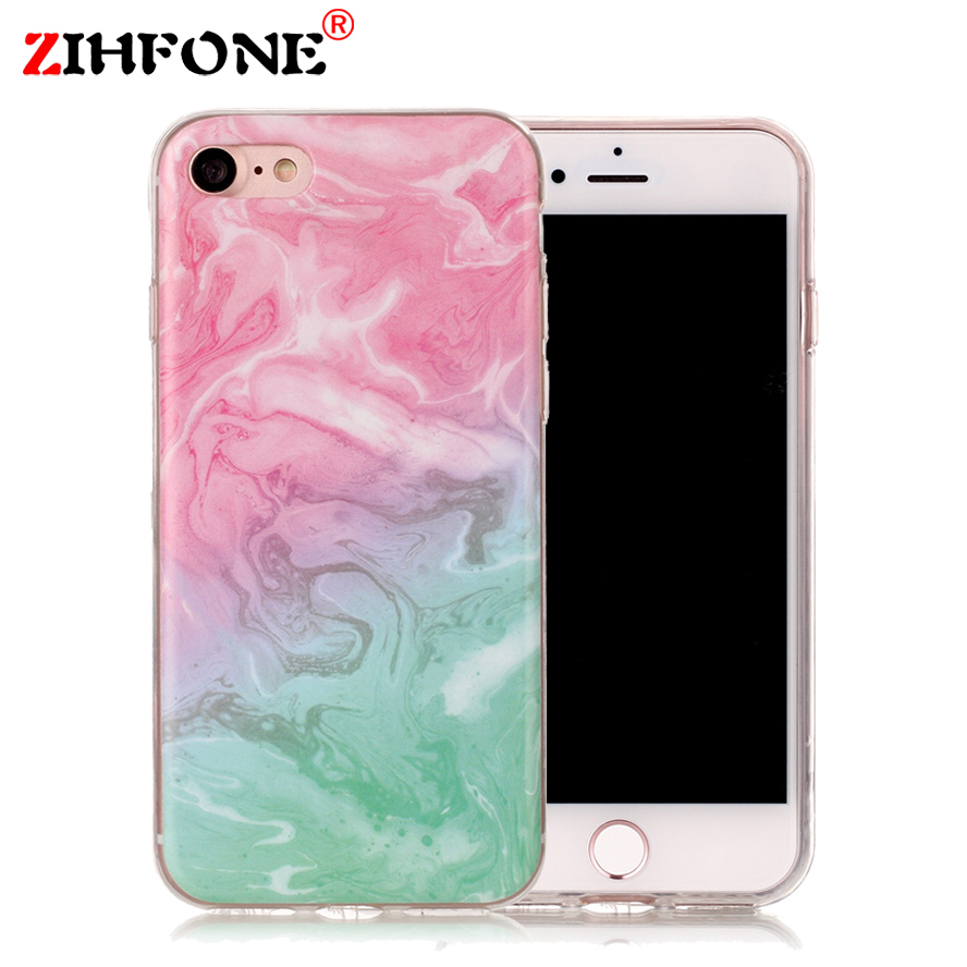 Korea Blue Pink Painted Marble Phone Case For Iphone 7