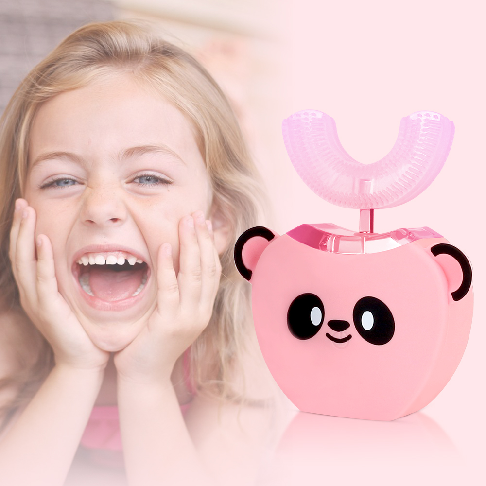 3-7 Years Old Children 360 Degrees Kids Automatic Sonic Toothbrush U Shaped Head With Music For Kids Ultrasonic Mouthpiece Brush