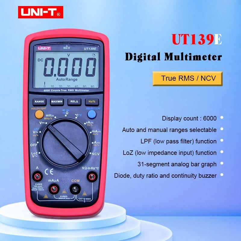 UNI-T UT139E multimètre numérique gamme automatique véritable RMS mètre testeur de poche LPF filtre de passage LoZ faible impédance entrée