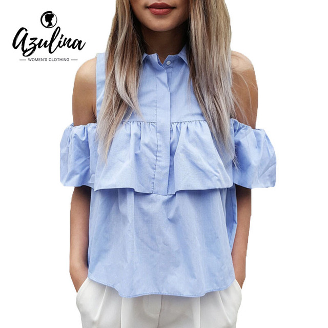 AZULINA 2017 Summer Women Casual Zimno Ramię Ruffles Bluzka Koszule Turn Down Niebieski Casual Sexy Topy Bluzka Blusas Panie Femme