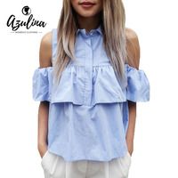AZULINA 2016 Summer Women Off The Shoulder Ruffles Blouse Shirts Turn Down Blue Casual Sexy Tops