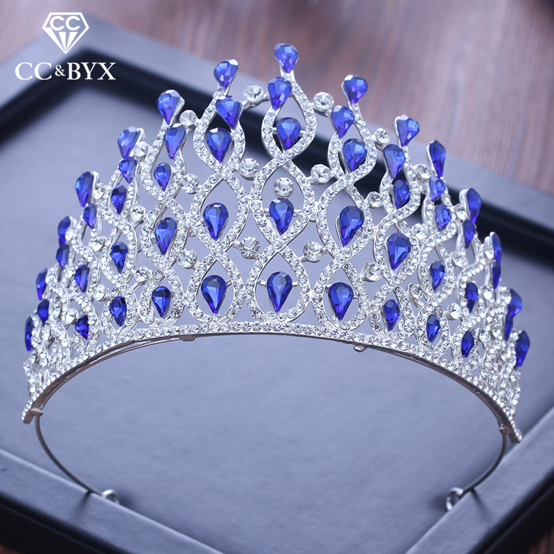 CC big tiaras and crowns water drop rhinestone pageant high quality engagement wedding hair accessories for bride jewelry XY235