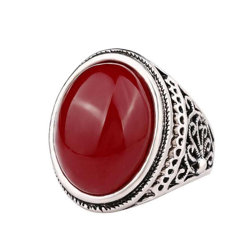 Fashion Jewelry Vintage Look Tibetan Alloy Antique Silver Plated Personality Black / Red Oval Crystal Ring SKU5281