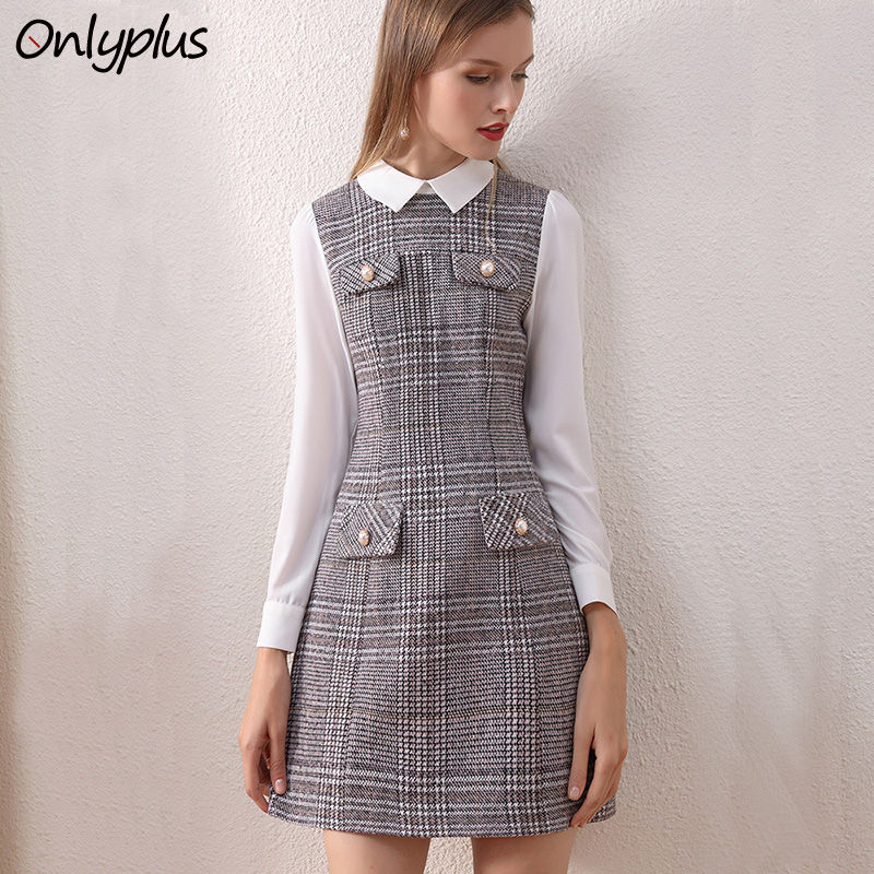 Dresses Yilin Kay High Quality Fashion Designer Runway Dress 2019 Tweed Plaid Beaded Button Vest Dress