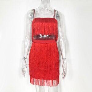 Image 5 - Newasia 庭ツーピースセット夏フリンジ 2 個セット女性クロップトップとスカートセットな衣装女性マッチングセット