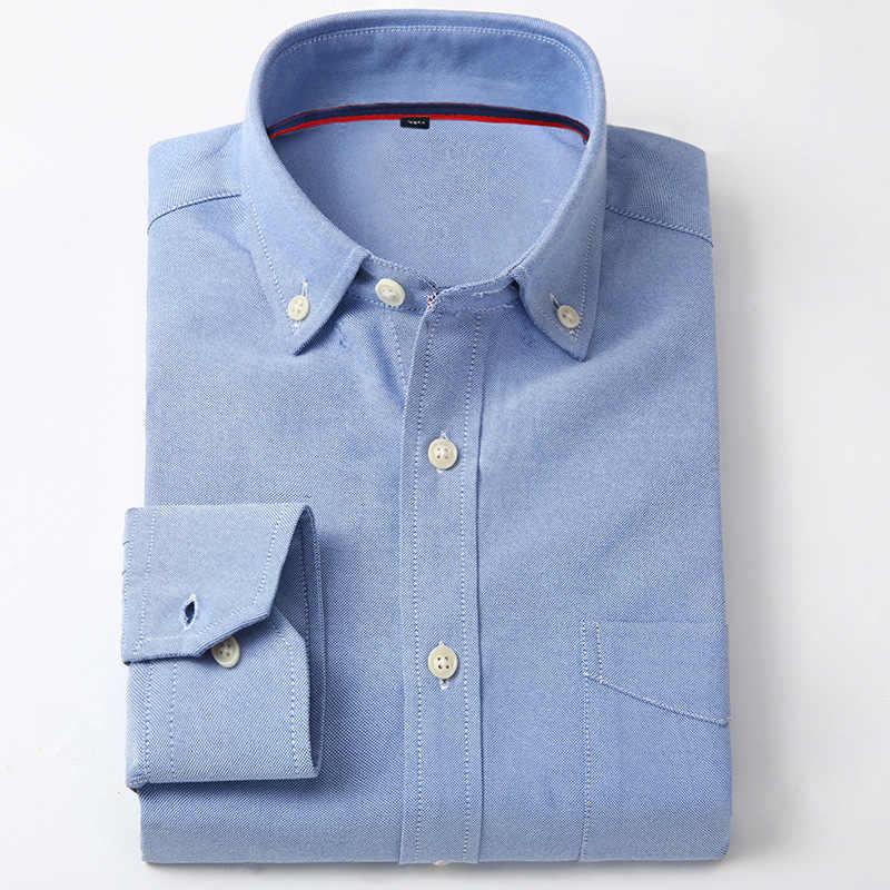 QISHA オックスフォード男性シャツブランドファッションビジネスの正式なスリムフィット通気性社会固体/ストライプカジュアルブルーデザイン男性服