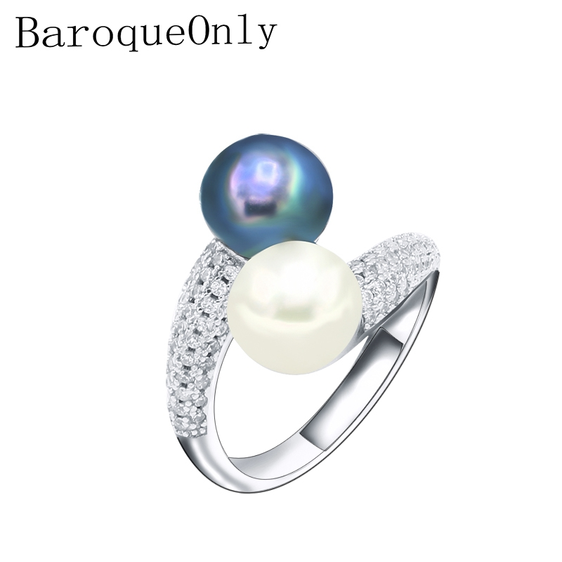 BaroqueOnly Natural Freshwater Pearl Jewelry 925 Sterling Silver TWO PEARL Rings For Women High Guality Zircon Wedding GiftBaroqueOnly Natural Freshwater Pearl Jewelry 925 Sterling Silver TWO PEARL Rings For Women High Guality Zircon Wedding Gift