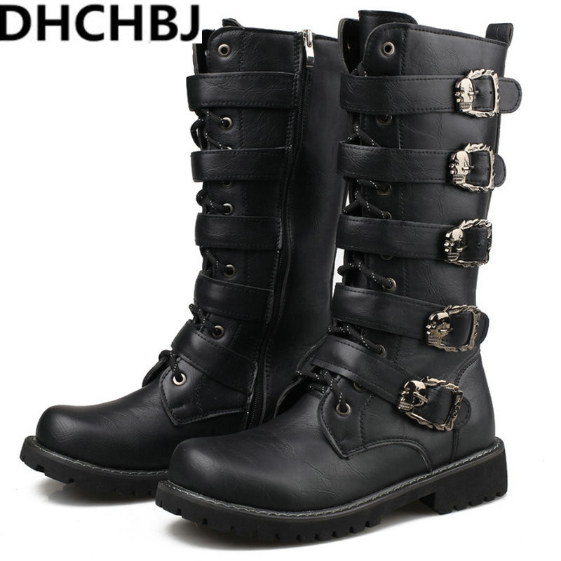 New Spring/autumn Fashion Men's Martin Boots Male High Shoes Casual Rubber Rain Snow Motorcycle Army Military Black Boots