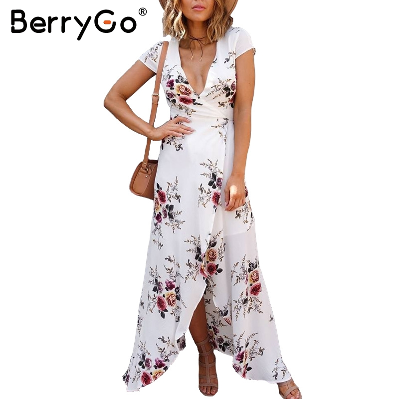 BerryGo Deep v neck high waist print summer dress Asymmetrical short sleeve split sashes maxi dress Summer party vestidos
