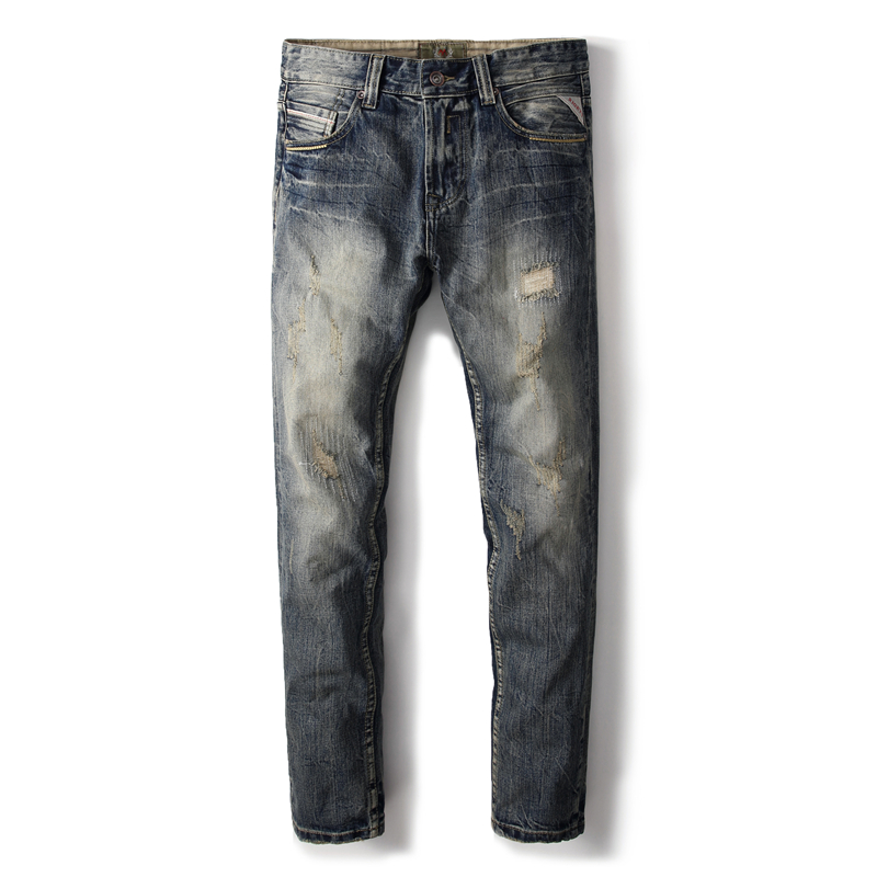 Preppy Style High Quality Cotton Brand Clothing Men`s Dark Jeans Distressed Mid Stripe Slim Denim Ripped Jeans Men Pants A631 ship from russia liectroux a338 multifunction robot vacuum cleaner with mop schedule dry virtual blocker self charge uv remote