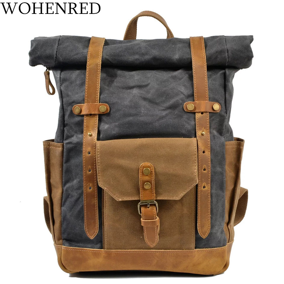 Brand Vintage Laptop Backpack Men Canvas Leather College Weekend School Bags Casual Bookbag Mens Waterproof Travel Bag Rucksack