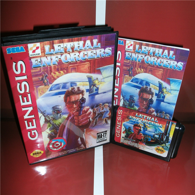 Lethal Enforcers US Cover with box and manual For Sega Megadrive Genesis Video Game Console 16 bit MD card