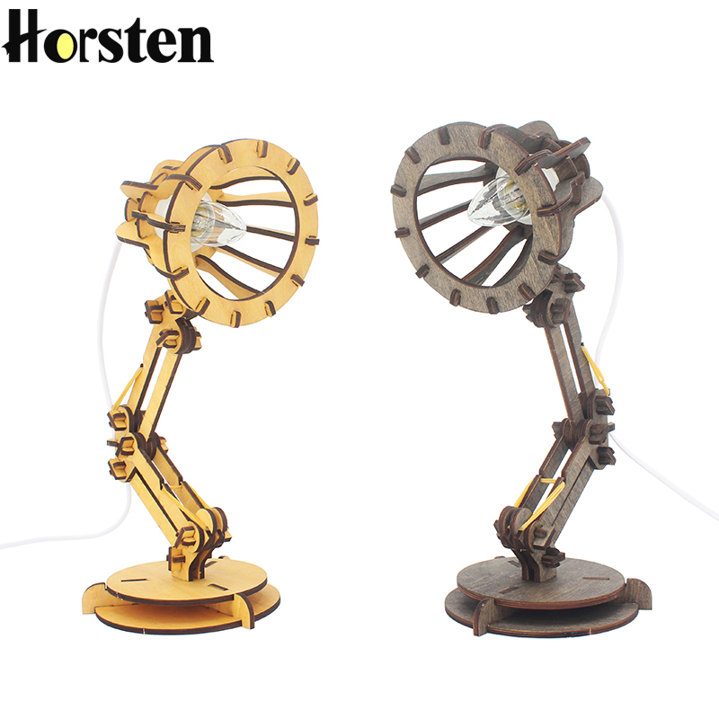 где купить Horsten Creative Retro Coffee Shop Table Lamp Wood Vintage Desk Lamp E27 Bulb 110V 220V DIY Bedroom Bar Table Desk Light по лучшей цене