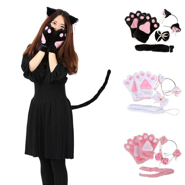Anime Cute Cosplay Costume Cat Ears Plush Paw Claw Gloves Tail Bow