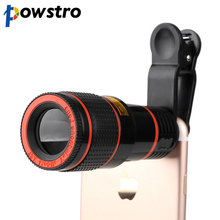 Powstro 12X Zoom Mobile Phone Clip-on Retractable Telescope Camera Lens For Samsung Galaxy S3 S4 S5 S6 S7 edge iPhone 5s 6 6s 7