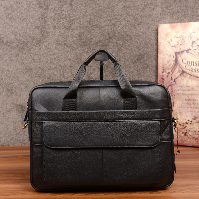 New Luxury 100% Cow Genuine Leather Business Men's Briefcase Male Shoulder Bag Men's Messenger Bag Tote Computer Handbag Black