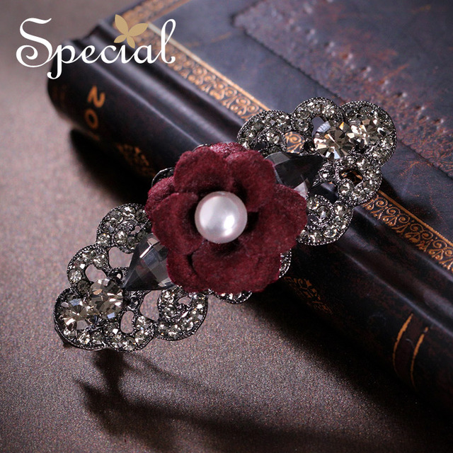 Special New Fashion Flower Hair Pins & Clips Rhinestones 2017 Hair Accessories Hair Wear Jewelry Gifts for Women S1663H