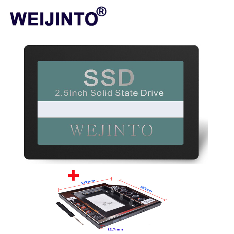 SATA3 2.5 inch SSD 60GB 64GB Hard Disk Disc Internal Solid State Drive HD HDD& 12.7mm SATA 3.0 2nd SSD Caddy for Laptop WEIJINTO