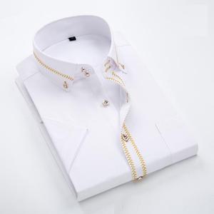 Image 2 - 2020 İlkbahar/sonbahar erkek Slim Fit uzun kollu elbise gömlek avrupa iş rahat sınır gömlek yüksek kalite düğün damatlar gömlek