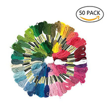 50pcs/Set Six-Strand Multicolor Cross Stitch Floss Rainbow Color Soft Cotton Embroidery Sewing Threads DIY Tool