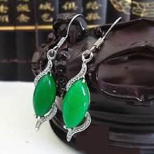 KYSZDL Beautiful Natural Green 925 Hook Dangle Water Drop Earring Fine Tear Dropping Stone Gem Earrings Jewelry Girls Gif