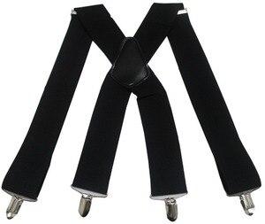 Suspenders Men 2 Inch 50mm Wide Adjustable Four Clip-on X- Back Elastic Black Red Grey Heavy Duty Braces Suspenders Mens(China)