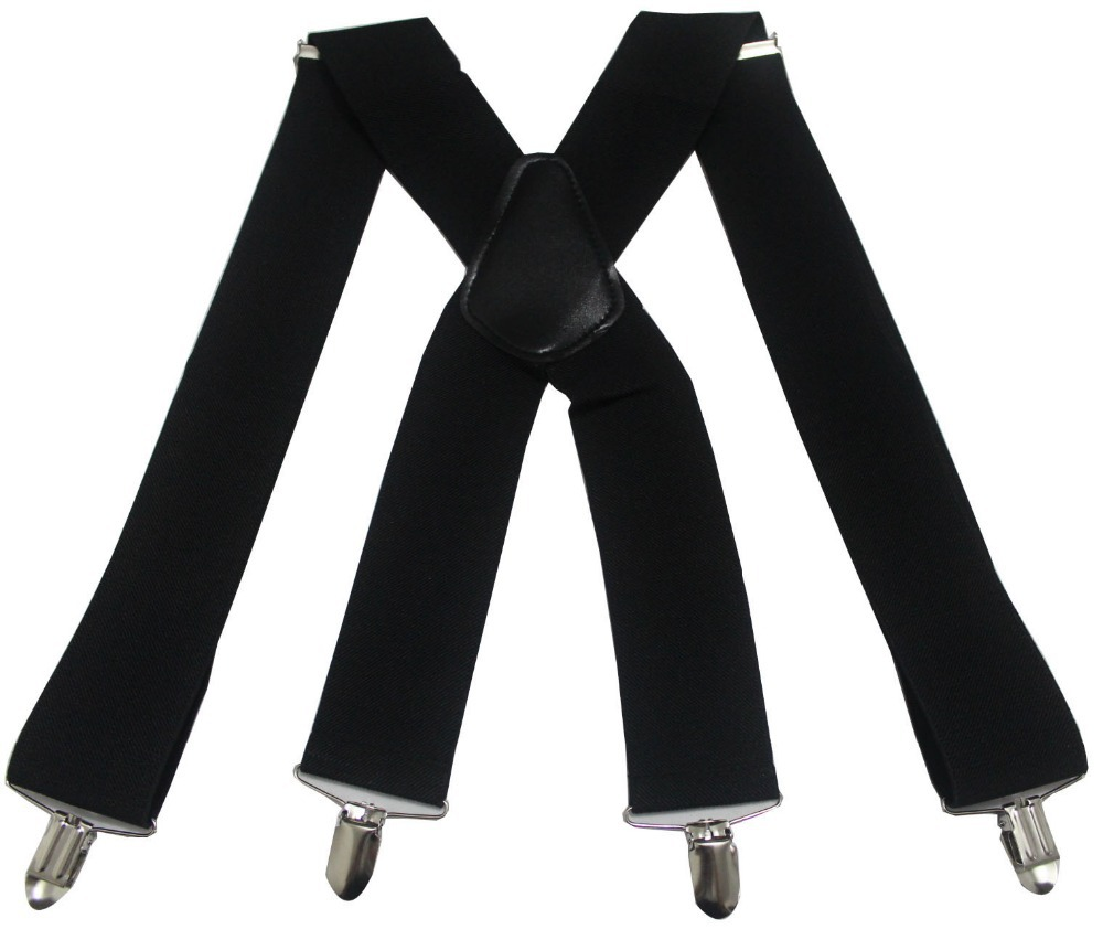 Mens Black Clip-on Suspenders 50mm X-Back Heavy Duty Work Biker Leathers Braces
