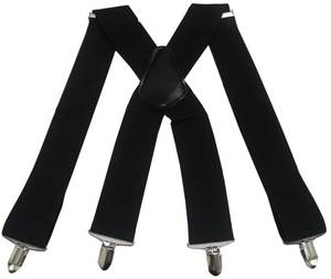 Wide Adjustable Elastic Black Red Braces Suspenders Mens