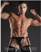 Free Shipping! latex briefs rubber lingerie attached suspenders