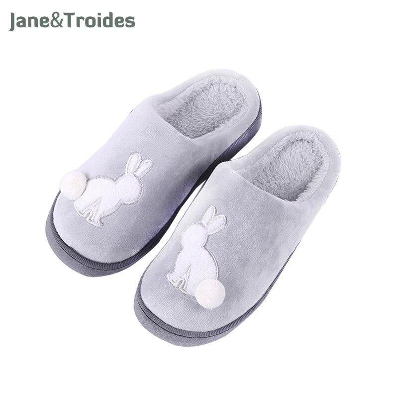 Winter Thicken Men Slippers Cartoon Rabbit Cute Plush Ball Decorate Flip Flops Casual Comfortable Warm Sandals