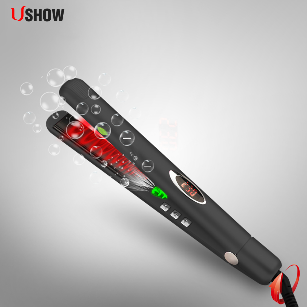 Infrared Negative Ions Hair Straightener Tourmaline Ceramic Flat Iron Professional Hair Care Straightening Iron mch flexible 3d floating ceramic wide plates flat iron far infrared hair straightener straightening curling with negative ions