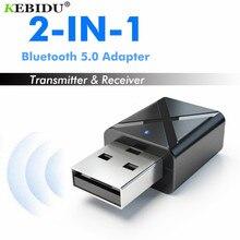 Kebidu transmissor e receptor bluetooth, usb 5.0, sem fio, áudio estéreo, para tv, pc, alto falante e fone de ouvido