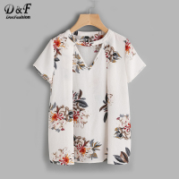 Dotfashion Floral Choker Neck Pleated Blouses Summer V Neck Short Sleeve Elegant Tops Ladies Casual Blouse