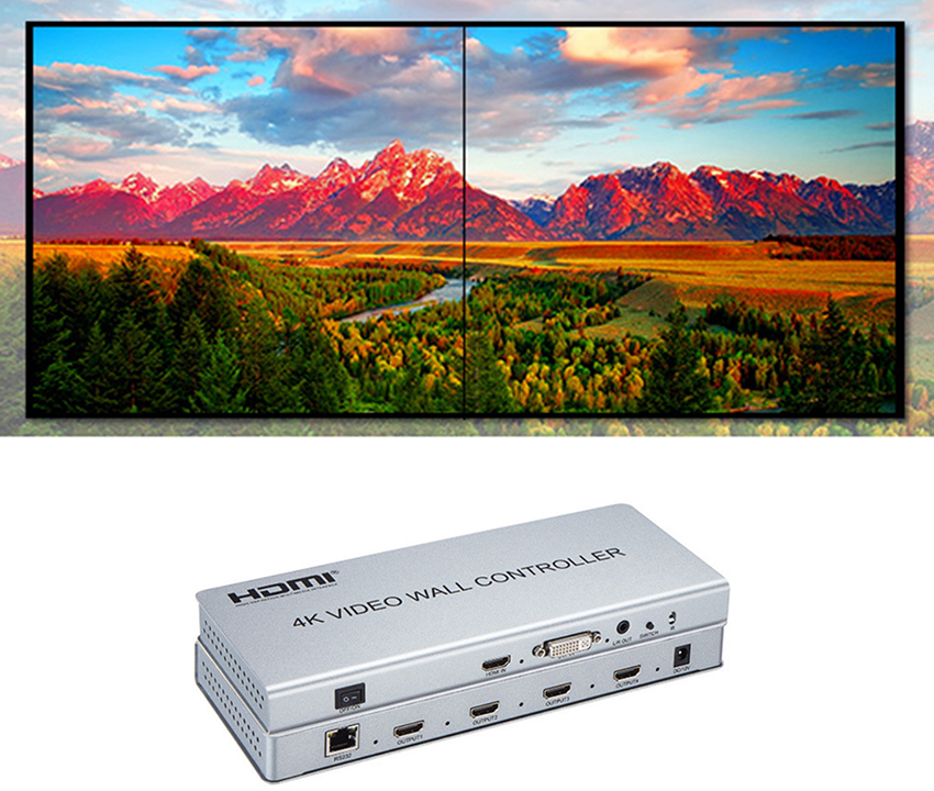 Image 5 - Video wall controller 2x2 1 HDMI/DVI Input 4 HDMI Output 4K TV Processor Images Stitching 4 TV Shows a Screen Splicing-in CCTV Parts from Security & Protection