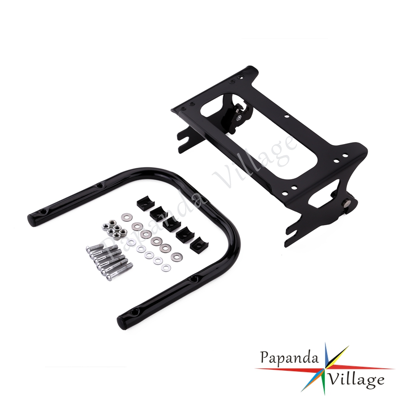 Papanda Motorbike Black Detachable Two Up Mounting Luggage Rack for Harley Touring Road King Street Electra Glide 1997 2008 in Covers Ornamental Mouldings from Automobiles Motorcycles