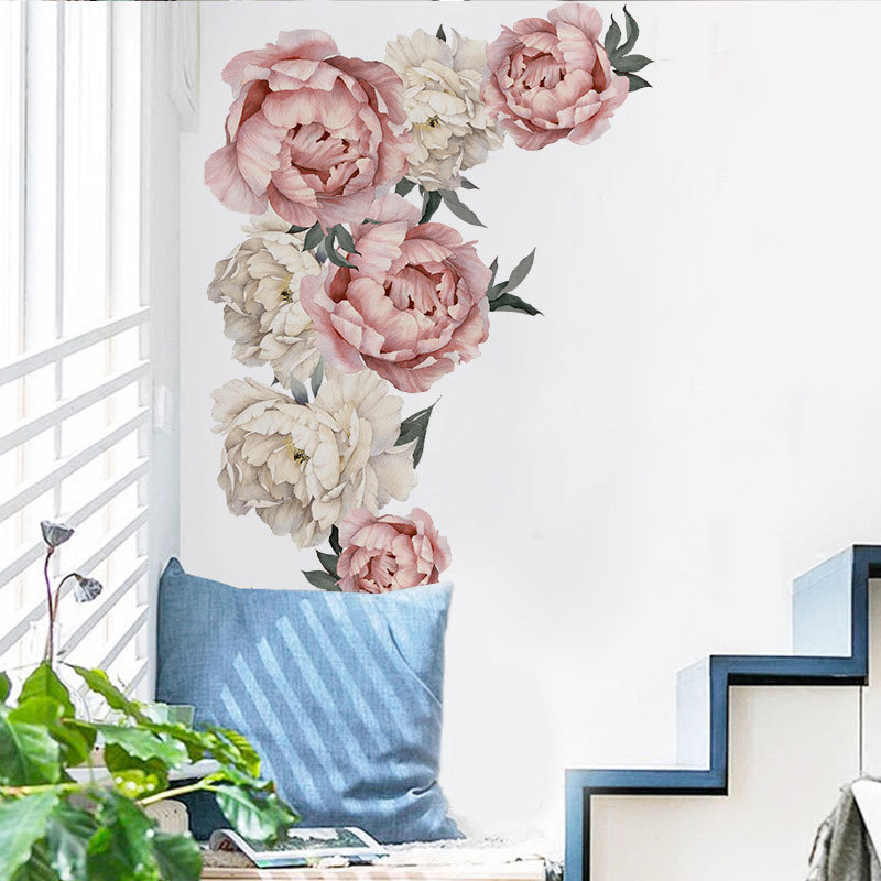 Details about  /Pink Peony Flower Wall Stickers Romantic Home Decor for Bedroom Living Room F1