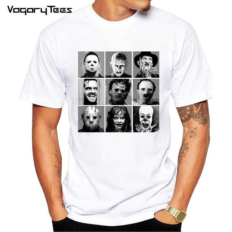 Newest Summer Men T-shirt Horror Movie Video Printed Fashion T Shirt Short Sleeve Basic Tee Shirts Cool Tops