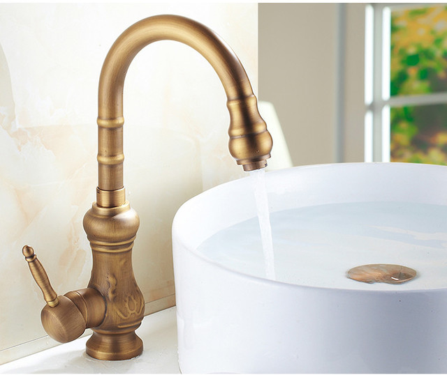 Luxury Elegant Antique Gold Bronze Faucet Kitchen Bathroom Vessel
